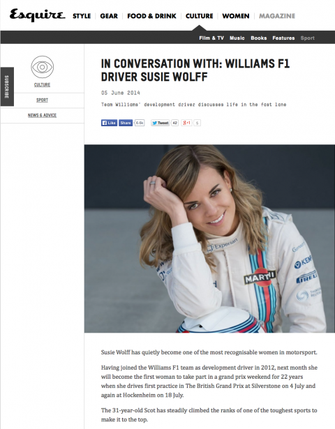 Susie Wolff esquire.co.uk