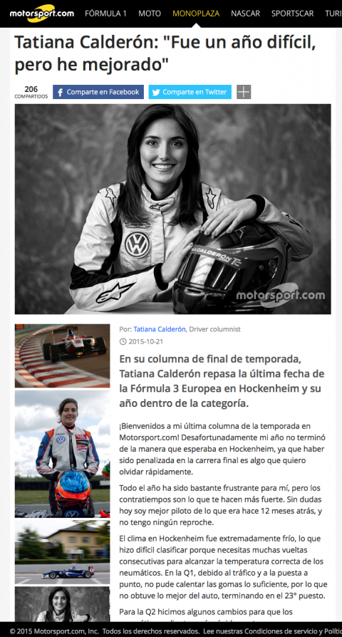 Tatiana Calderon Fue un año d - F3-Euro Noticias