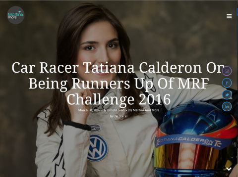 Release: Car Racer Tatiana Calderon On Being Runners Up Of MRF Challenge 2016